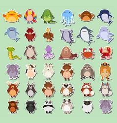 set of animals sticker vector image