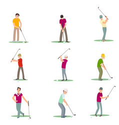 Set of different golf players isolate on white vector