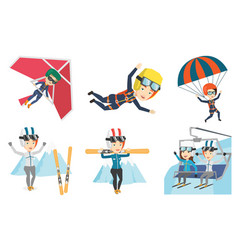 set of sport characters vector image