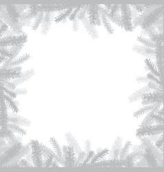 Silver christmas frame made fir branches vector
