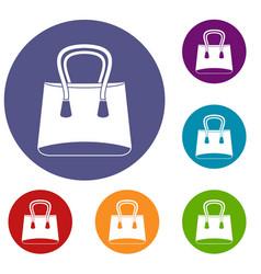 Small woman bag icons set vector