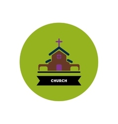 Stylish icon in color circle building church vector