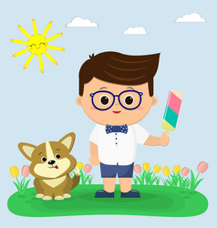 the boy in a bow tie a butterfly shirt shorts vector image