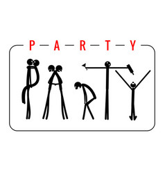 the inscription party made from people figures vector image