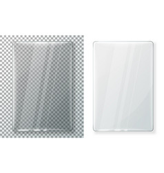 two realistic vertical glass plates eps vector image