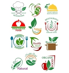 Vegetarian and natural healthy food emblems vector