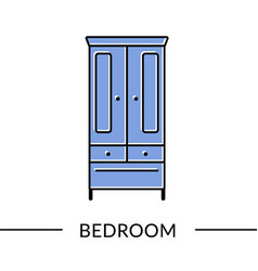 wardrobe bedroom or living furniture line icon vector image