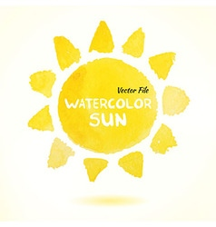 Watercolor Hand Drawn Sun vector