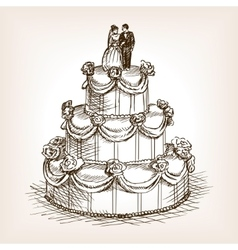 Wedding cake hand drawn sketch style vector