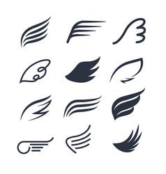 wings icon set bird or angel wing vector image