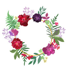 Wreath with flowers and leaves in gold circle vector