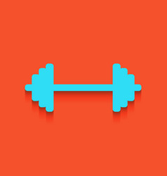 dumbbell weights sign whitish icon on vector image vector image