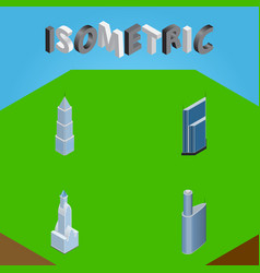 Isometric construction set of building cityscape vector