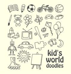 Kids World Doodles vector image