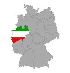 Map of Germany with flag of North Rhine-Westphalia vector image vector image