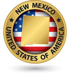 New Mexico state gold label with state map vector image