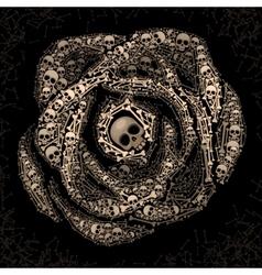 Rose of skulls and bones vector image