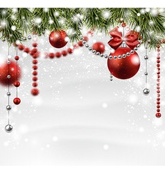 Christmas snowy background with spruce branches vector image vector image
