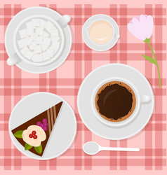 coffee with milk and cake on the table vector image vector image