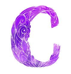 Coloring freehand drawing capital letter c vector