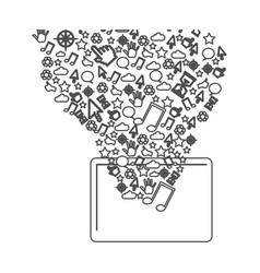 grayscale contour with tablet and internet icons vector image