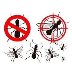 pest control ant icons set vector image vector image