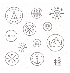 Set of hand drawn badges Outdoor camping tribe vector image vector image