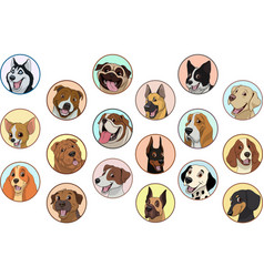 set purebred dogs vector image vector image