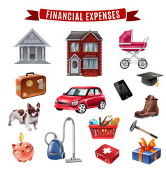 Family expenses flat icons collection vector