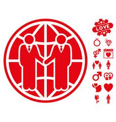 global partnership icon with love bonus vector image