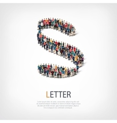 letter people sign 3d vector image vector image