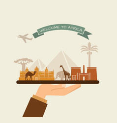 welcome to africa attractions of africa on a tray vector image
