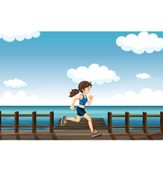 A young woman jogging vector