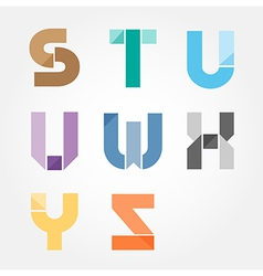 Alphabet modern paper cut abstract style design vector