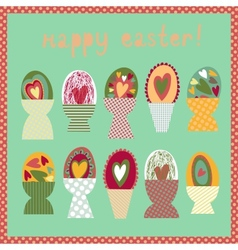 Colorful card with Easter egg cups vector image vector image