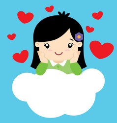 cute little girl in love sitting on a cloud vector image vector image