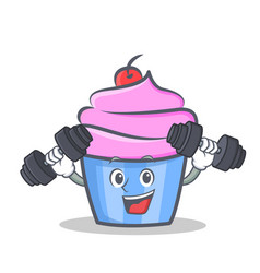 fitness cupcake character cartoon style vector image vector image