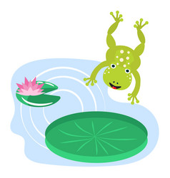 frog jumping on water lily cartoon clipart vector image