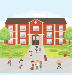 group of elementary school kids in the school yard vector image vector image