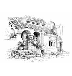 Hand drawn sketch tropical resort vector image vector image