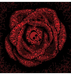 Red rose of skulls and bones vector image