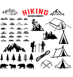 Set of hiking outdoor mountains design elements vector