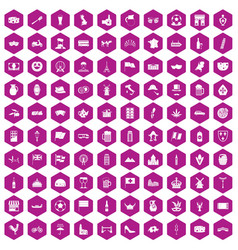 100 europe countries icons hexagon violet vector image