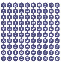 100 leadership icons hexagon purple vector