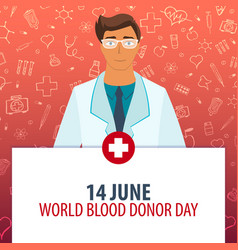 14 june world blood donation day medical holiday vector image