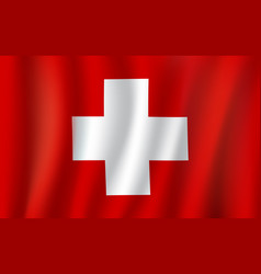 3d flag of switzerland national symbol vector
