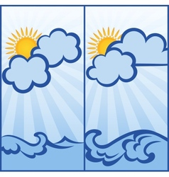 Abstract postcard with clouds and waves vector