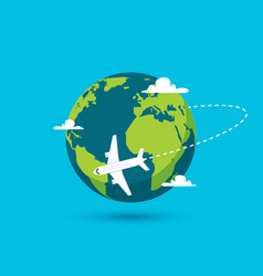 Airplane earth world globe icon plane vector