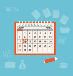 April page 2019 spiral calendar with marked tax vector