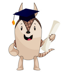 armadillo with diploma on white background vector image
